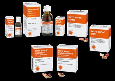 Ferro Sanol Produktfamilie: ferro sanol duodenal, ferro sanol duodenal mite, ferro sanol Tropfen, ferro sanol Saft, ferro sanol Dragees
