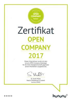 Zertifikat Open Company 2017