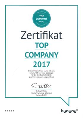 Zertifikat Top Company 2017
