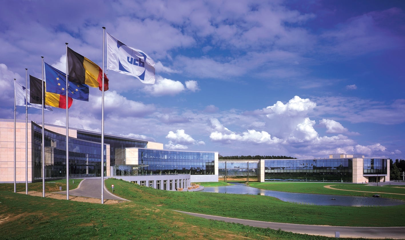 headquarters with flags