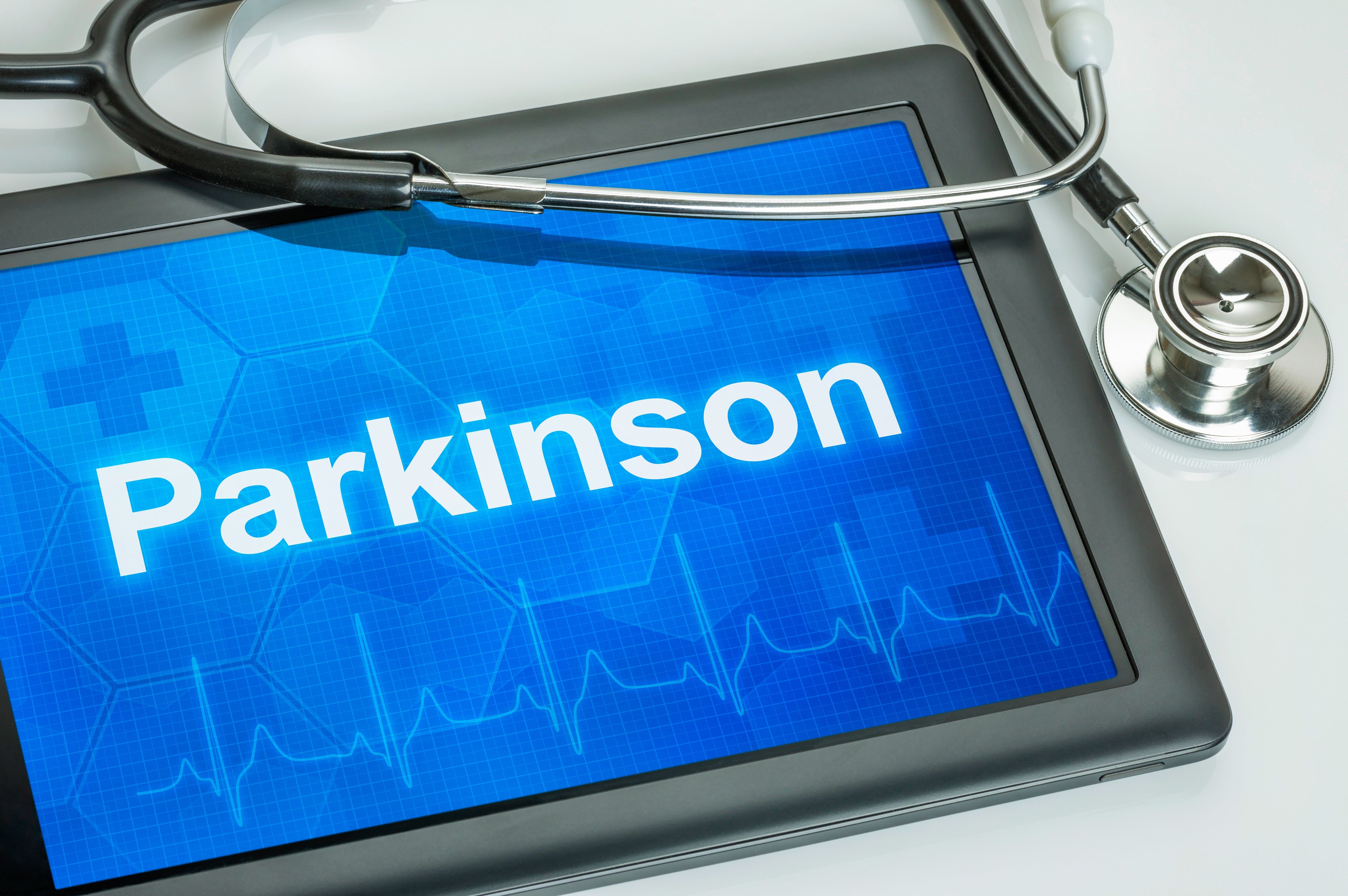 An electronic tablet with the word parkinson